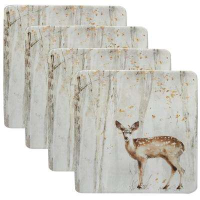 A Woodland Walk 10.5 in. 4-Piece Grey and Sepia Dinner Set