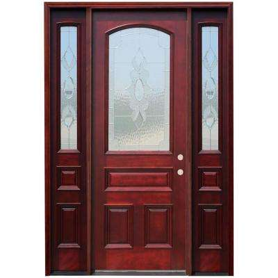 Captivating 64 In. X 96 In. Traditional 3/4 Arch Lite Stained Mahogany Wood