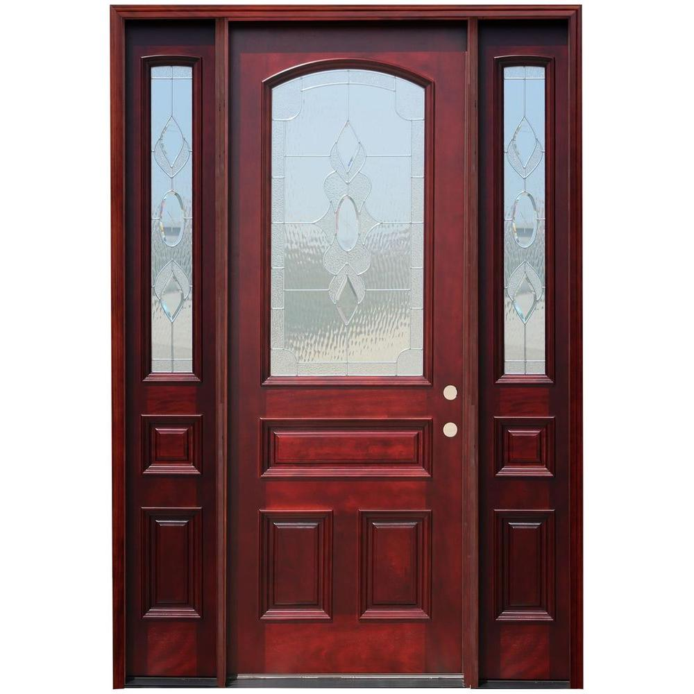 Pacific Entries 64 in. x 96 in. 3/4 Arch Lite Stained Mahogany Wood Prehung Front Door w/ 6 in. Wall Series and 12 in. Sidelites