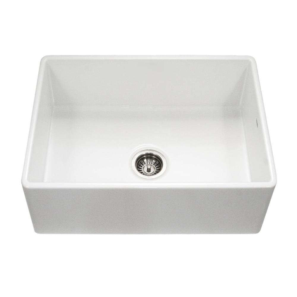 Houzer Platus Series Farmhouse A Front Fireclay 30 In Single Bowl Kitchen Sink White Pts 4100 Wh The Home Depot