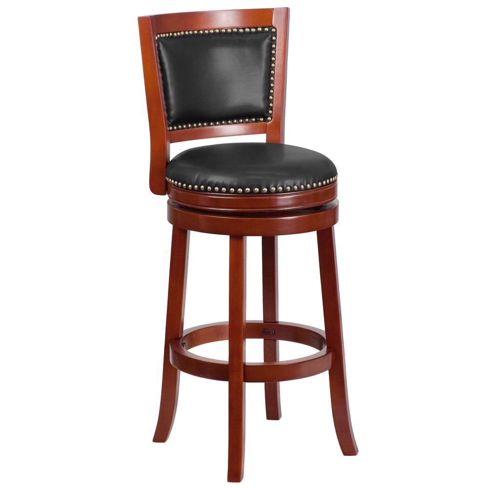 Flash Furniture 30.5 in. Dark Cherry and Walnut Swivel Cushioned Bar