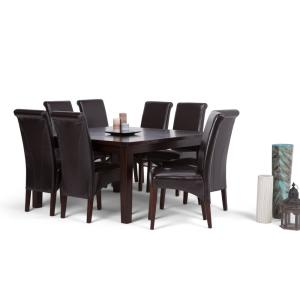 +8. Simpli Home Avalon 9 Piece Tanners Brown Dining Set