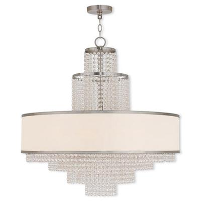 Carlisle 8-Light Brushed Nickel Chandelier with Off-White Sheer Organza Shade