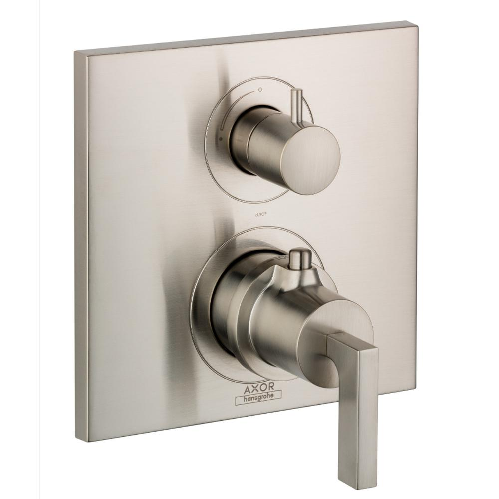 Axor Citterio 2-Handle Thermostatic Volume Control Valve Trim Kit in Brushed