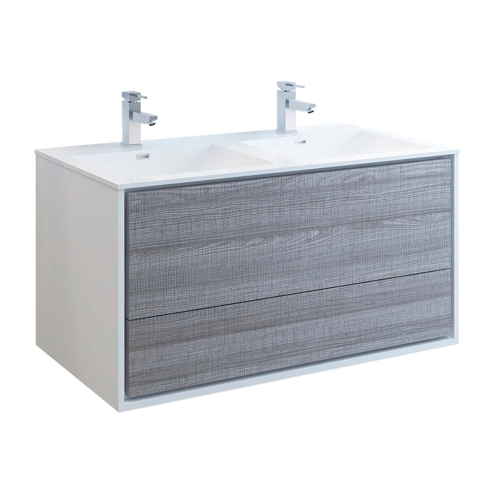 Fresca Catania 48 in. Modern Double Wall Hung Bath Vanity in Glossy Ash Gray,Vanity Top in White with White Basins