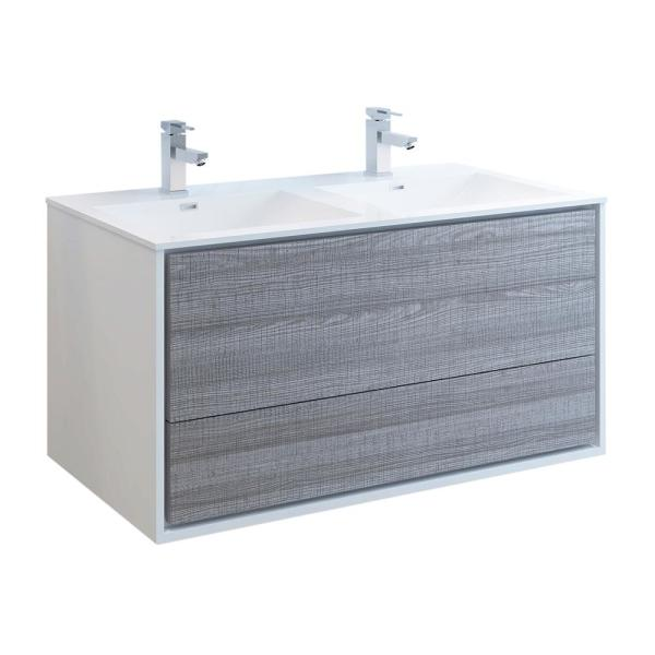 Catania 48 in. Modern Double Wall Hung Bath Vanity in Glossy Ash Gray,Vanity Top in White with White Basins