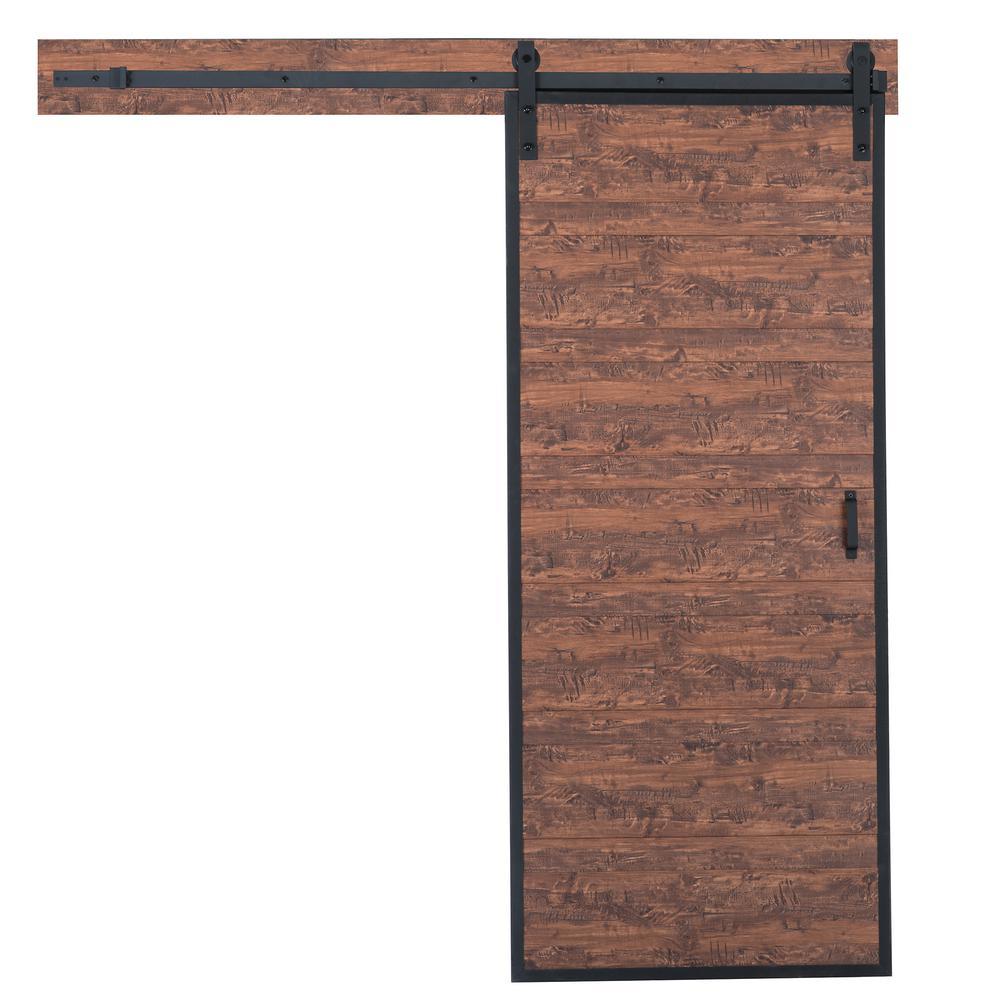 36 in. x 84 in. Terra Acacia Rustic Metal Framed Solid Core Interior Barn Door with Sliding Rustic Hardware Kit