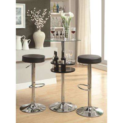 Rec Room Adjustable Height Black Backless Round Bar Stool