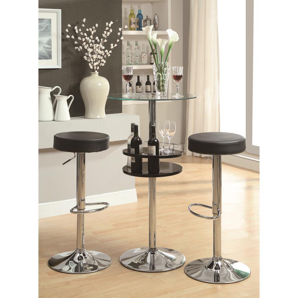Coaster Rec Room Adjustable Height Black Backless Round Bar Stool 102558