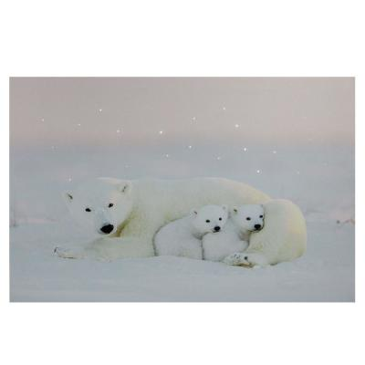 23.5 in. x 15.5 in. Fiber Optic Lighted Mama Polar Bear and Cubs Canvas Wall Art