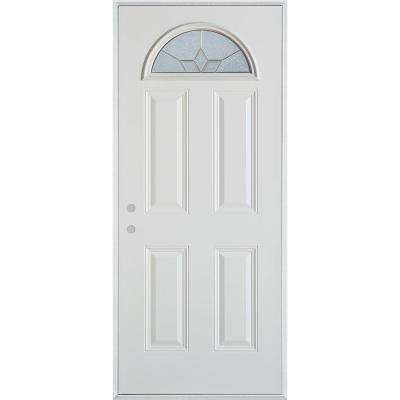 36 in. x 80 in. Geometric Patina Fan Lite 4-Panel Painted White Right-Hand Inswing Steel Prehung Front Door