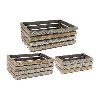 Stick Measure Brown Wooden Planter Boxes (Set of 3)