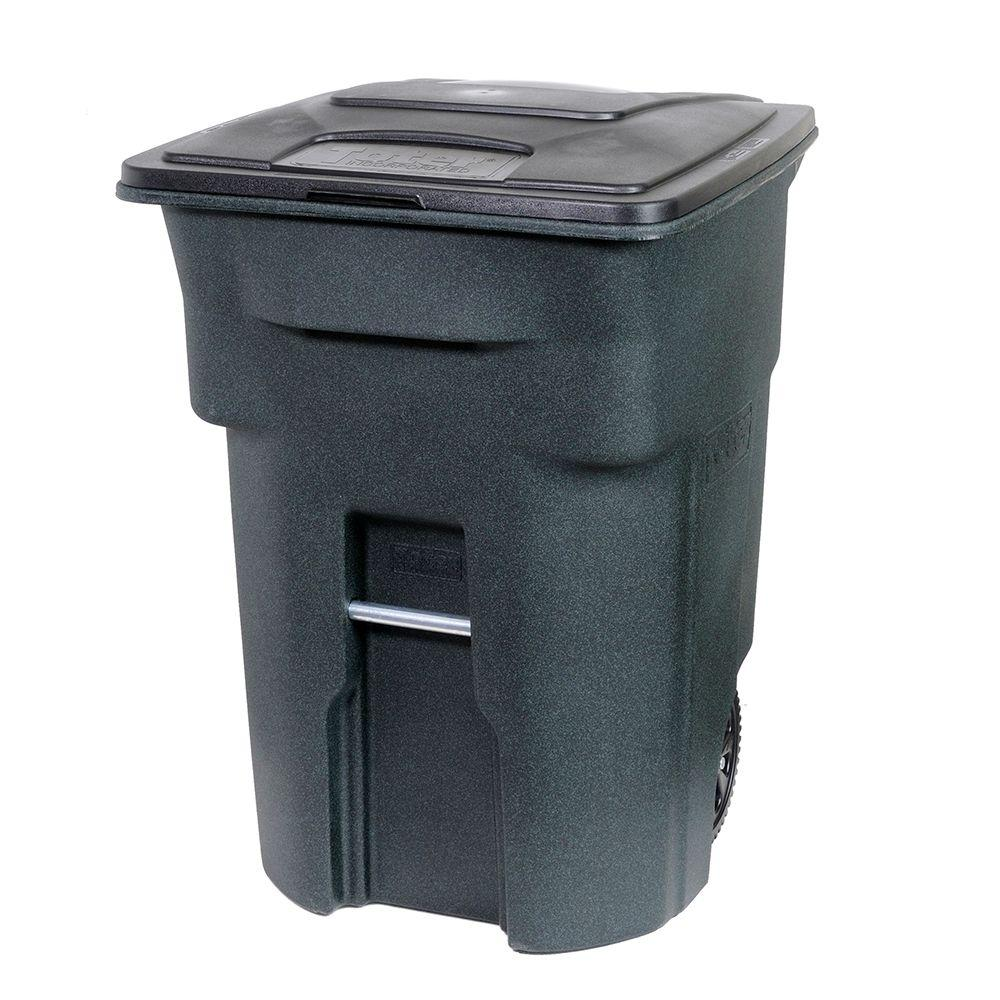 Green Trash Can With Wheels And Attached Lid