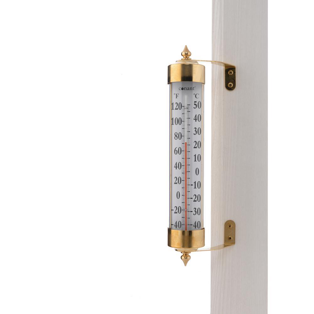 Conant Vermont Grande View Thermometer In Living Brass