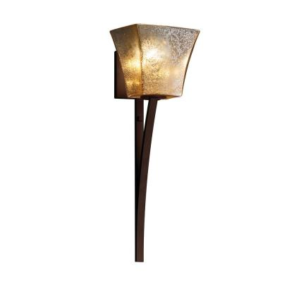 Fusion Sabre 1-Light Dark Bronze Wall Sconce with Mercury Glass Shade