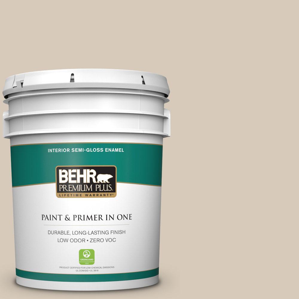 5 gal. #PPU5-12 Almond Wisp Zero VOC Semi-Gloss Enamel Interior Paint