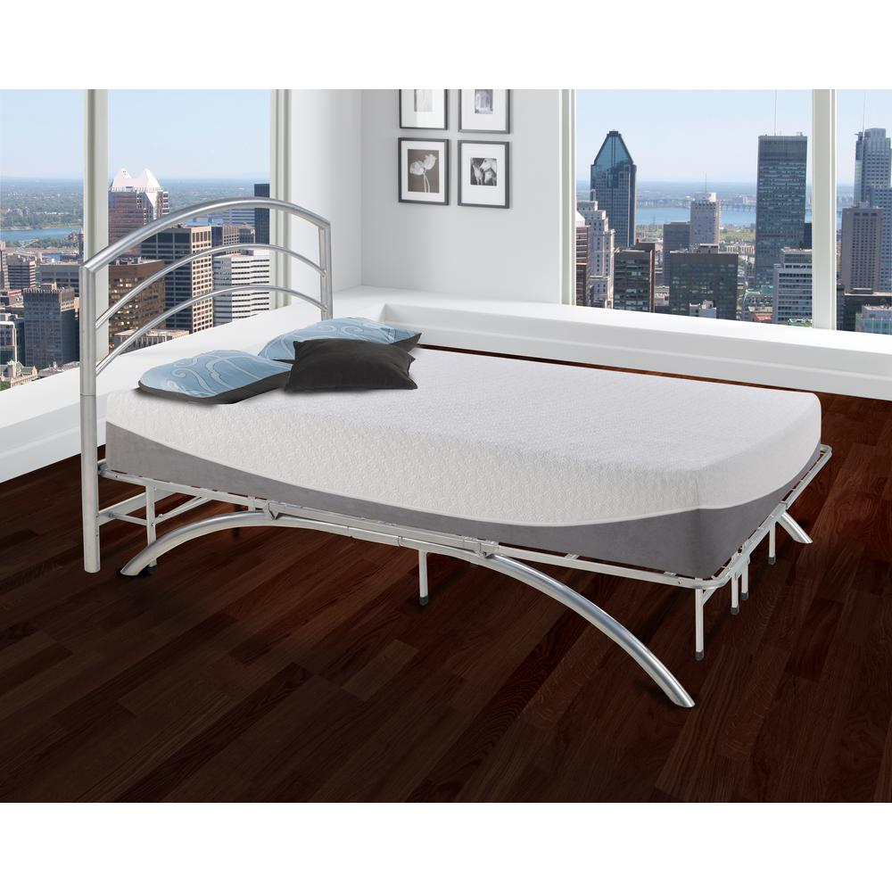 Dome Arch Silver Twin Metal Platform Bed Frame and Headboard