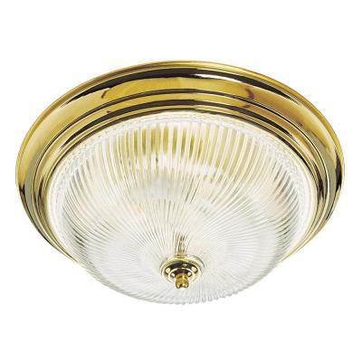 3-Light Polished Brass Ceiling Fixture with Clear Ribbed Glass