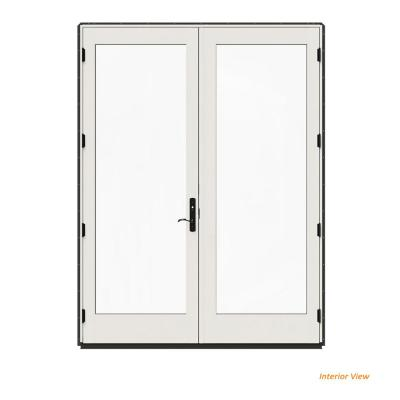 JELD-WEN 72 in. x 96 in. W-4500 Contemporary Bronze Clad Wood Right-Hand Full Lite French Patio Door w/White Paint Interior,...