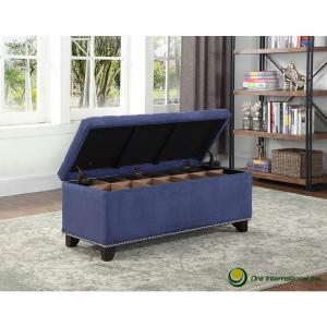 Tufted Blue Suede Storage Bench HB4660 - The Home Depot