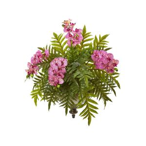 24  in. Phalaenopsis Orchid and Fern Artificial Plant in Metal Hanging Bowl