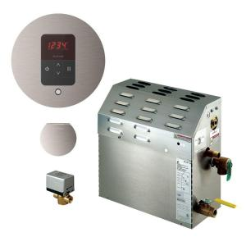 Mr. Steam 7.5kW Steam Bath Generator with iTempo AutoFlush Round Package in Brushed Nickel by Mr. Steam