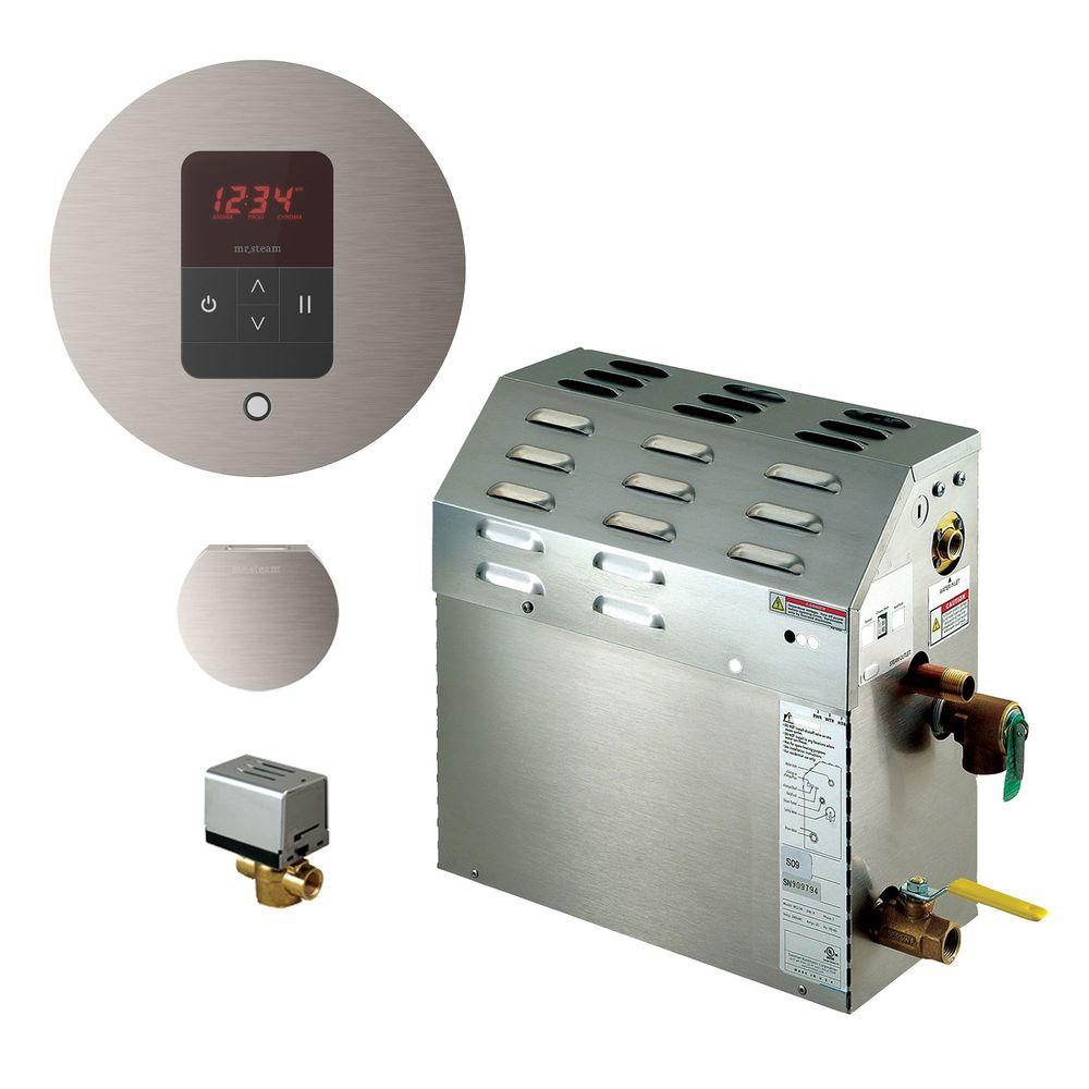 9kW Steam Bath Generator with iTempo AutoFlush Round Package in Brushed
