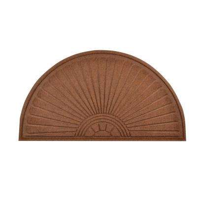 Guzzler Sunburst Brown 36 in. x 70 in. Rubber-Backed Entrance Mat