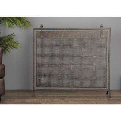 38 in. x 45 in. Metallic Black Iron Mesh Fireplace Screen