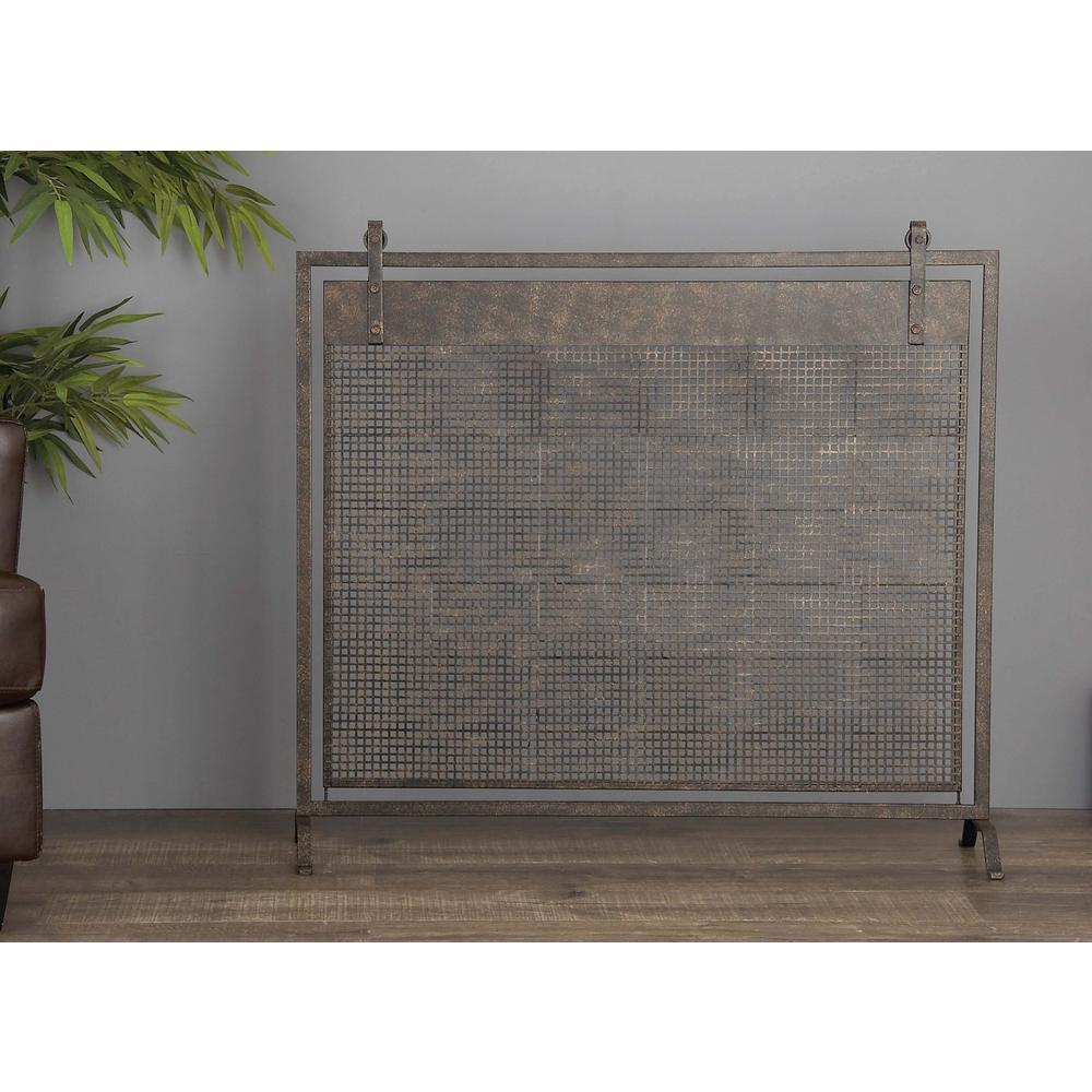 38 in. x 35 in. Black Iron Mesh Fireplace Screen