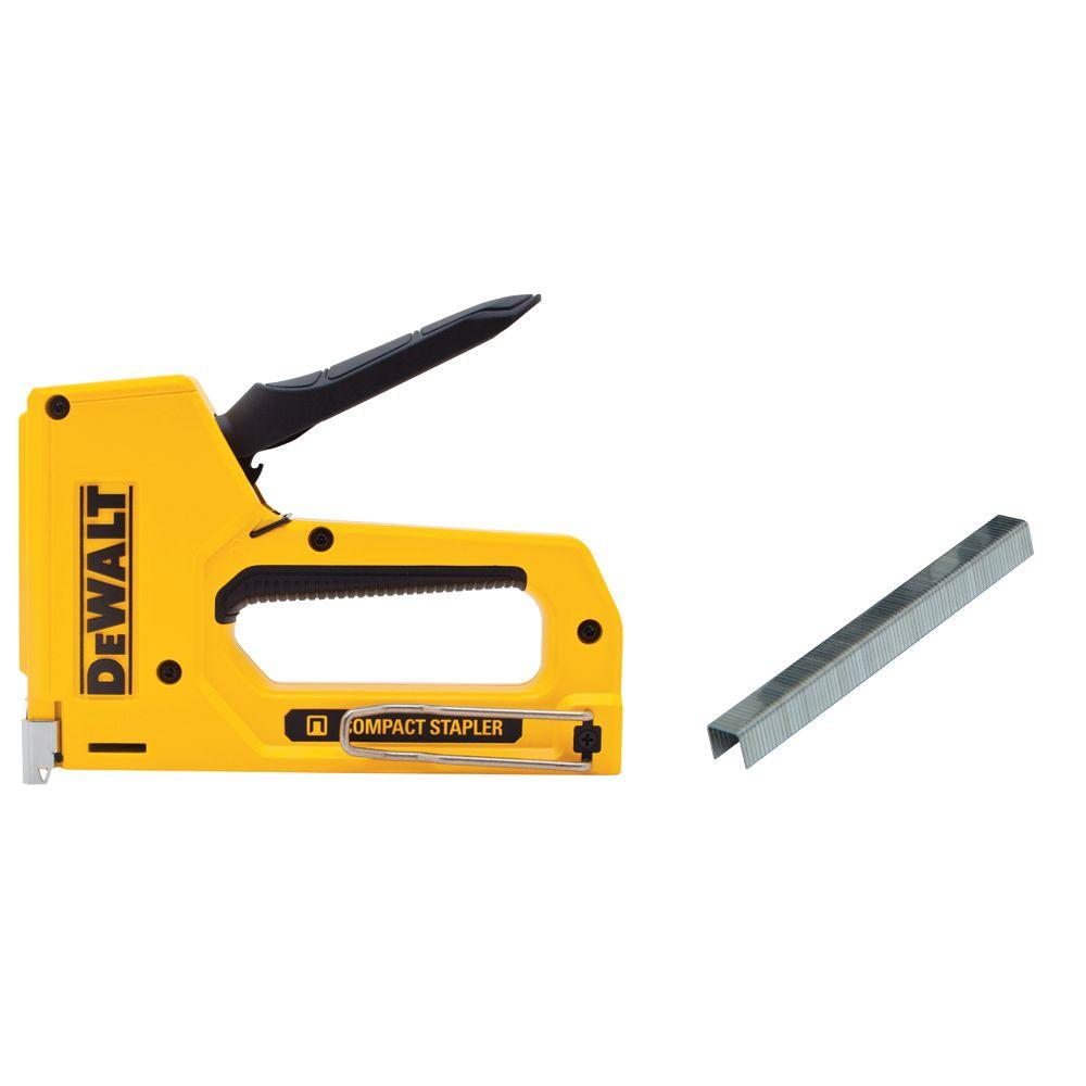 DEWALT 4 in. Heavy-Duty Compact Staple Gun and Staples
