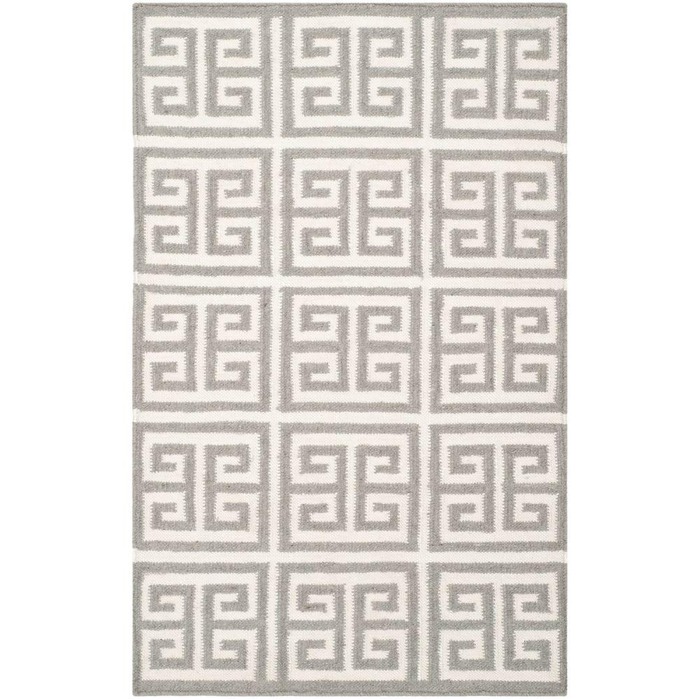 Dhurries Grey/Ivory 2 ft. 6 in. x 4 ft. Area Rug