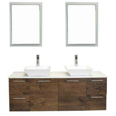 Luxury 60 in. W x 21 in. D Vanity in Rosewood with Wood Vanity Top in White with Rosewood Basin