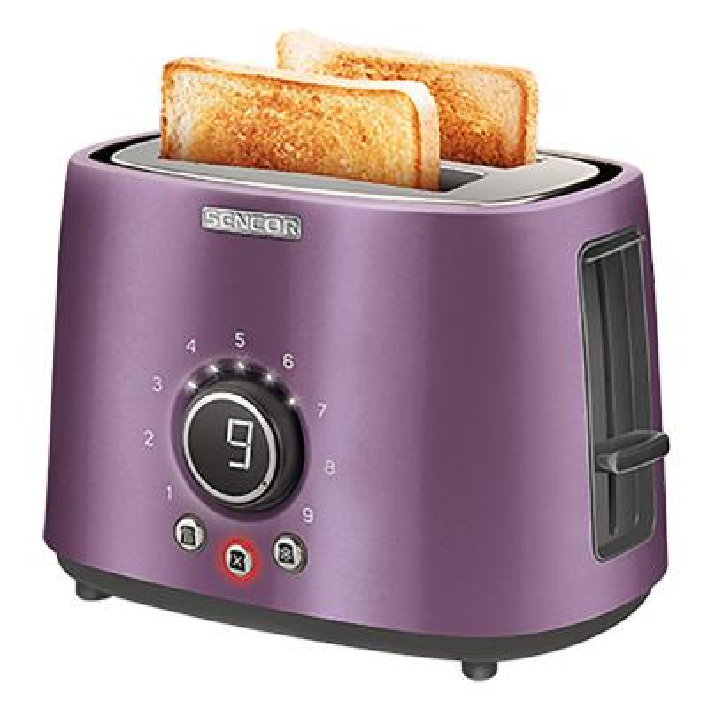 2-Slice Purple Long Slot Toaster with Rack