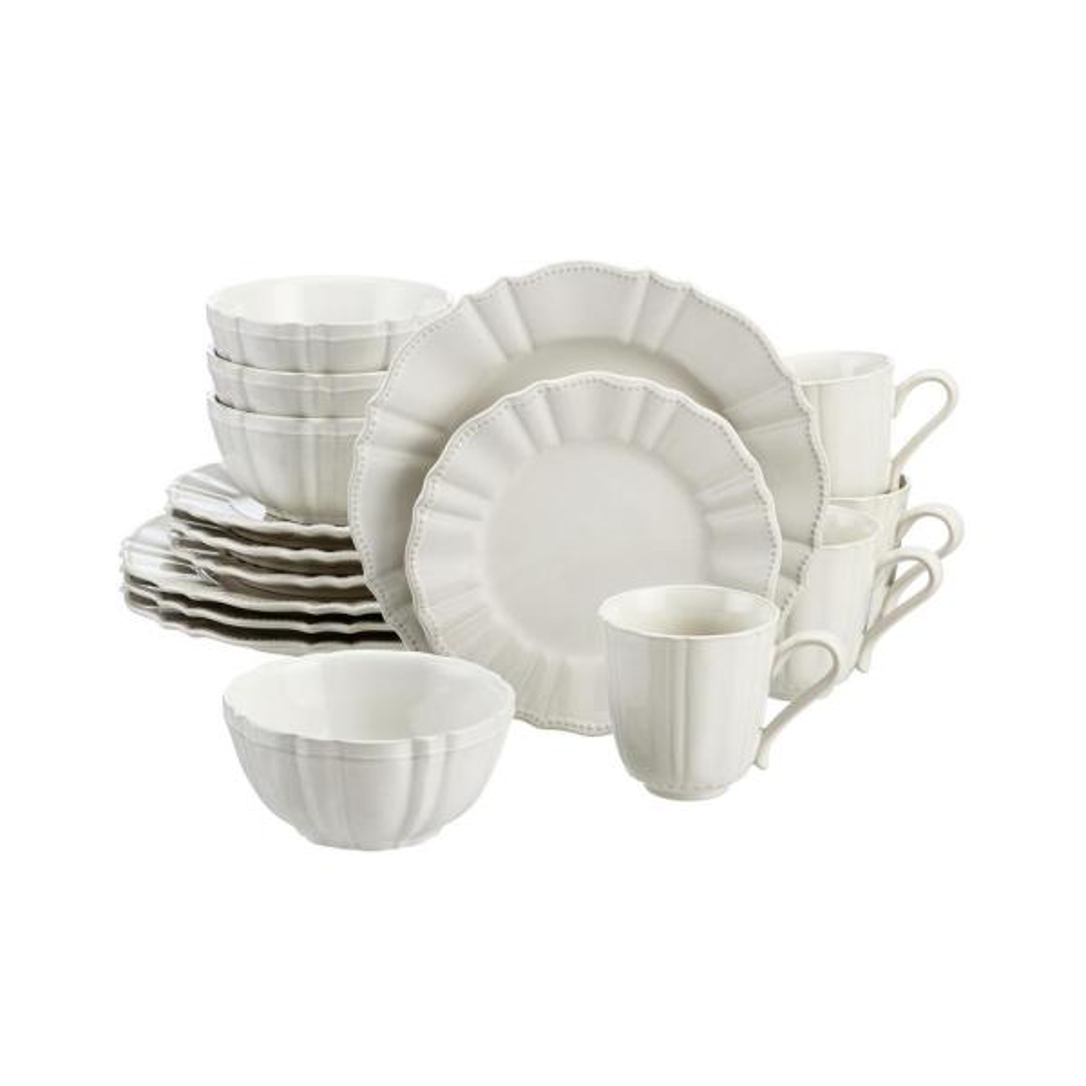 Aubrey 16-Piece Ivory Stoneware Dinnerware Set (Service for 4)