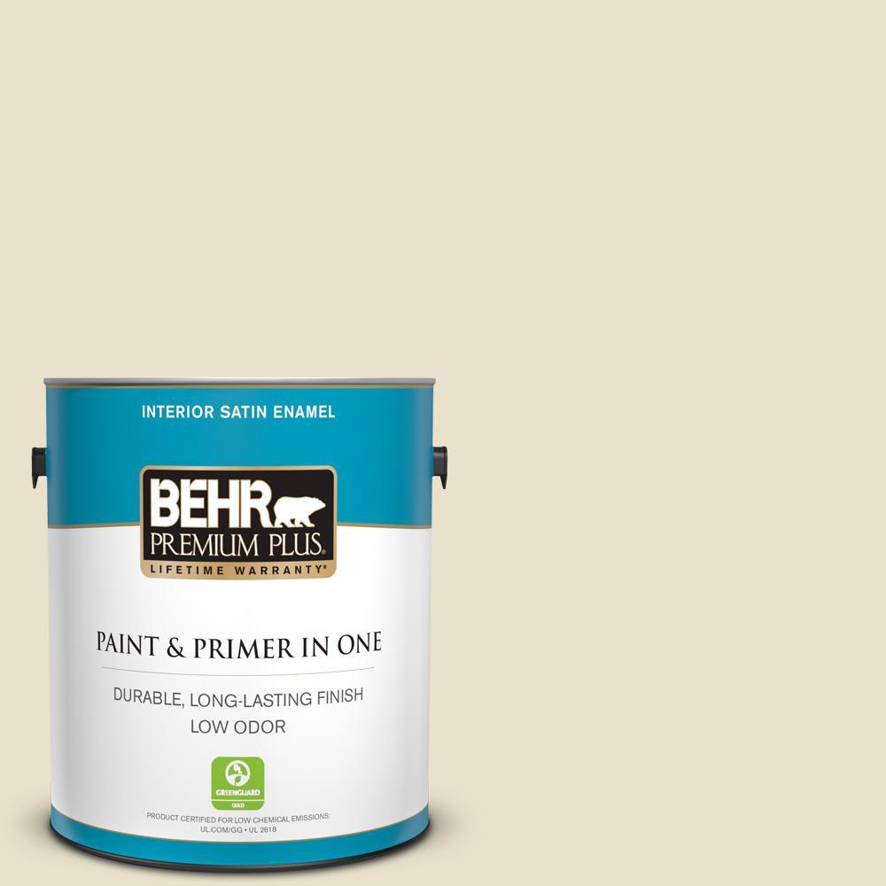 Behr Premium Plus 1 Gal Ecc 17 2 Dry Creek Satin Enamel Low Odor Interior Paint And Primer In One 705001 The Home Depot