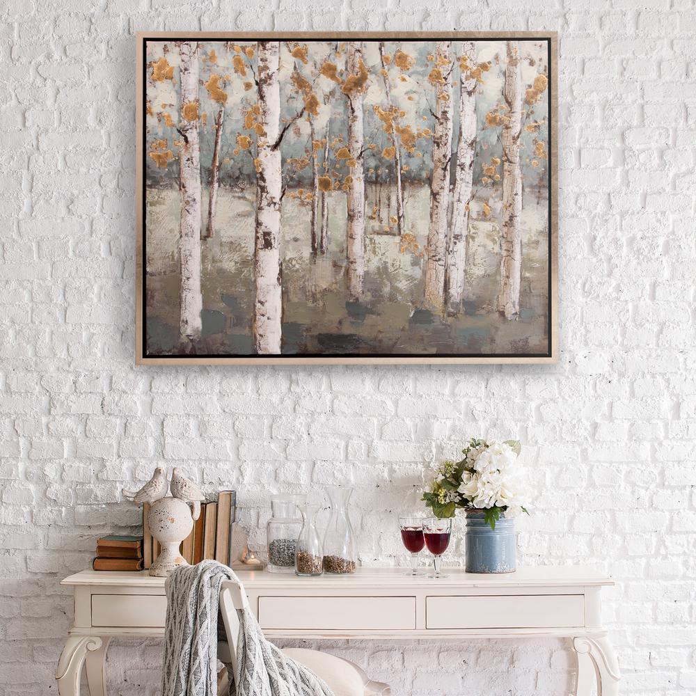 Pinnacle Amongst the Birch Treess Framed Canvas Wall Art