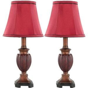 Safavieh Hermione 16 inch Brown/Red Urn Lamp with Red Shade (Set of 2) by Safavieh