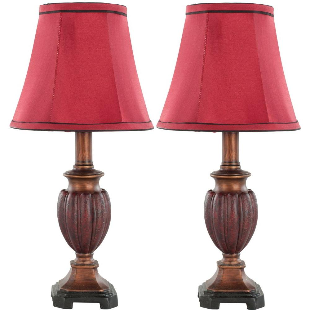 Safavieh Hermione 16 In Brown Red Urn Lamp With Red Shade Set Of 2