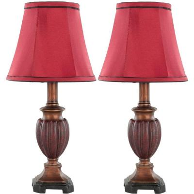 Hermione 16 in. Brown/Red Urn Table Lamp with Red Shade (Set of 2)