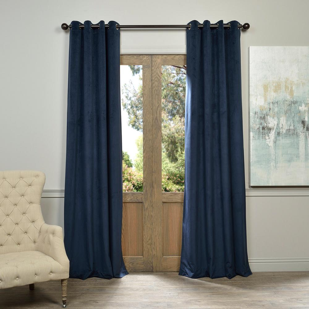 Exclusive Fabrics & Furnishings Blackout Signature Midnight Blue Grommet Blackout Velvet Curtain - 50 in. W x 84 in. L (1 Panel)