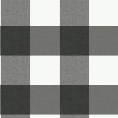 Charcoal Gray Farmhouse Plaid Peel and Stick Strippable Wallpaper Covers 30.75 sq. ft.