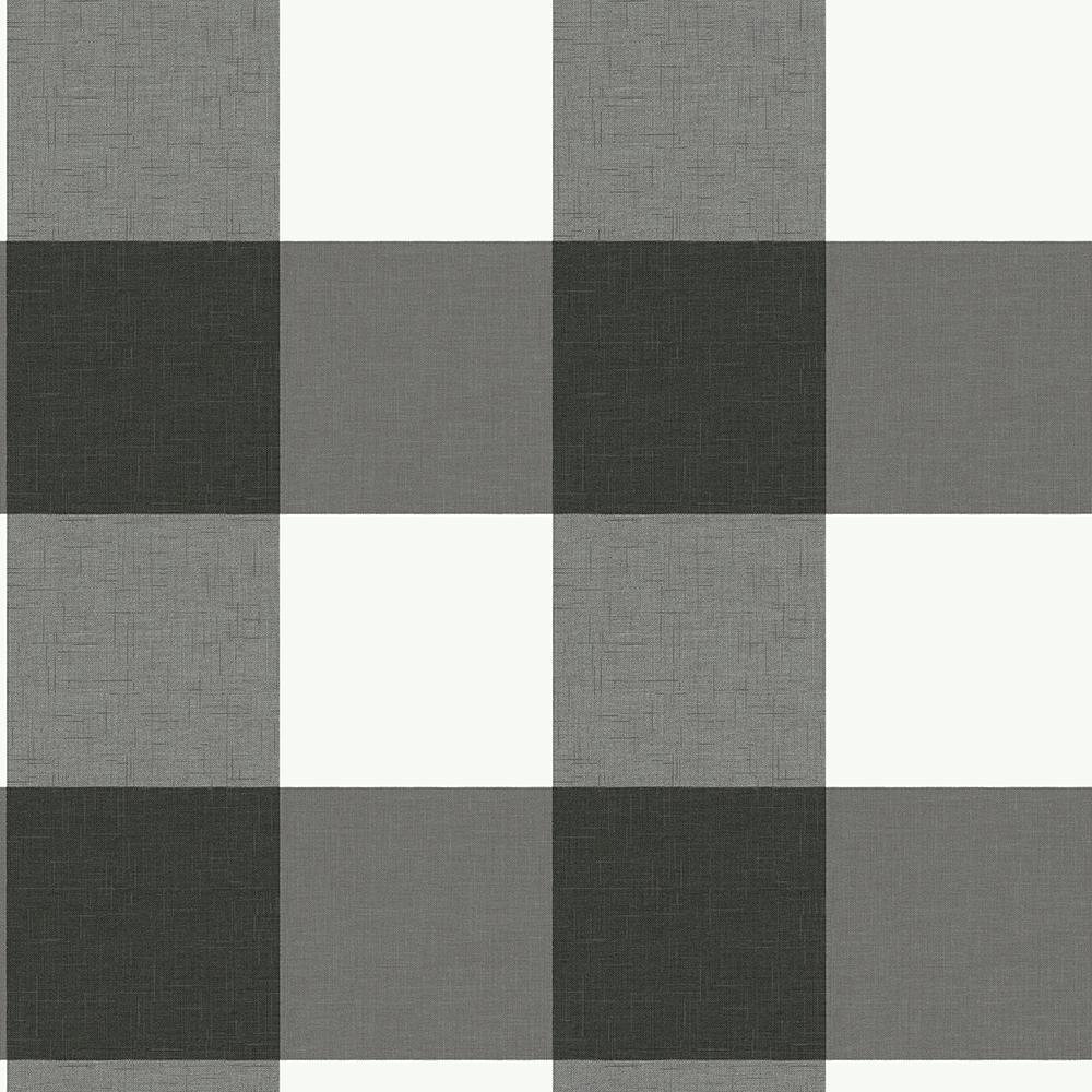 Charcoal Farmhouse Plaid Peel & Stick Grey Wallpaper Sample