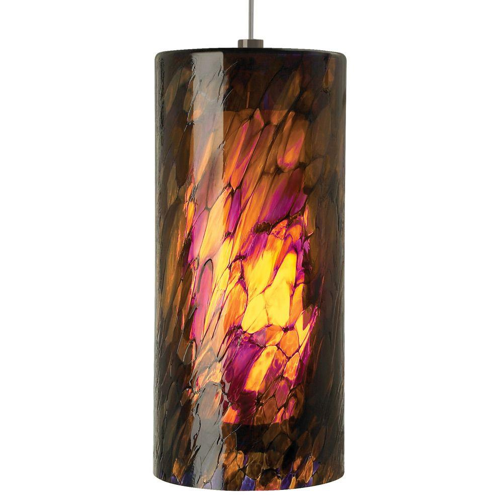 LBL Lighting Abbey Grande 1-Light Bronze Pendant with Amber-Purple Shade