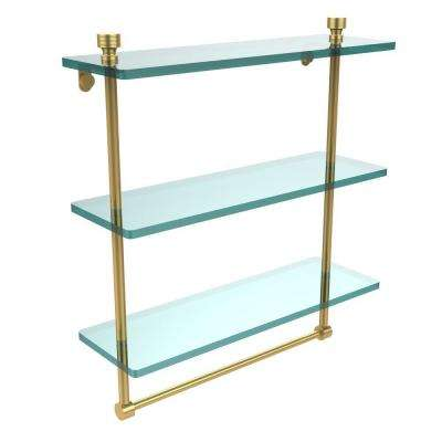 Foxtrot 16 in. L  x 18 in. H  x 5 in. W 3-Tier Clear Glass Bathroom Shelf with Towel Bar in Polished Brass