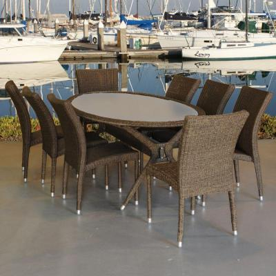 Bari Oval 9-Piece Synthetic All-Weather Wicker Patio Dining Set