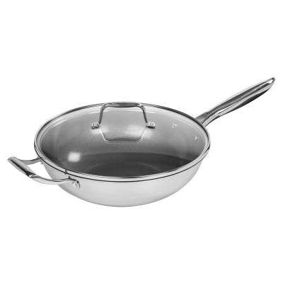 12 in. Stainless Steel Covered Wok
