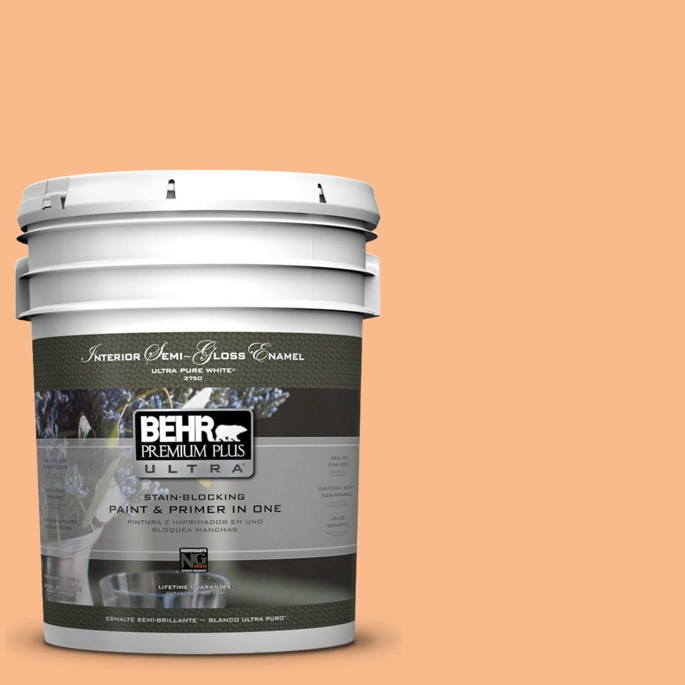 5-gal. #260C-3 Fresh Peaches Semi-Gloss Enamel Interior Paint