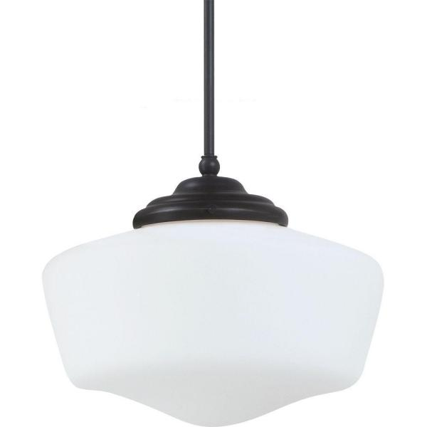 Academy Medium 11.5 in. W. x 9.75 in. H. 1-Light Heirloom Bronze Pendant with Satin White Glass Shade