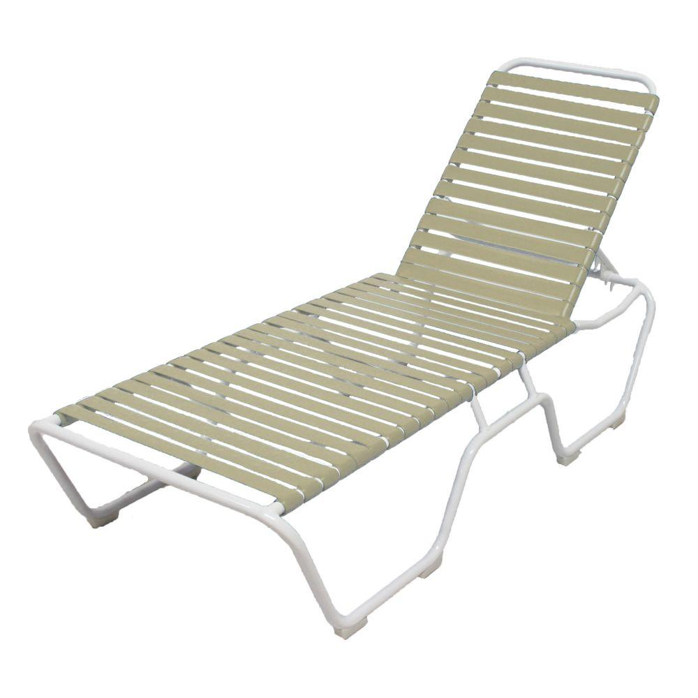 Marco Island White Commercial Grade Aluminum Vinyl Strap Outdoor Chaise Lounge In Putty 2
